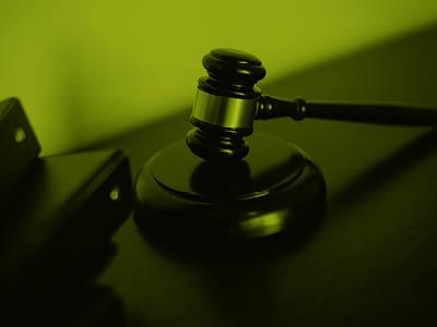 A court hammer on a desk